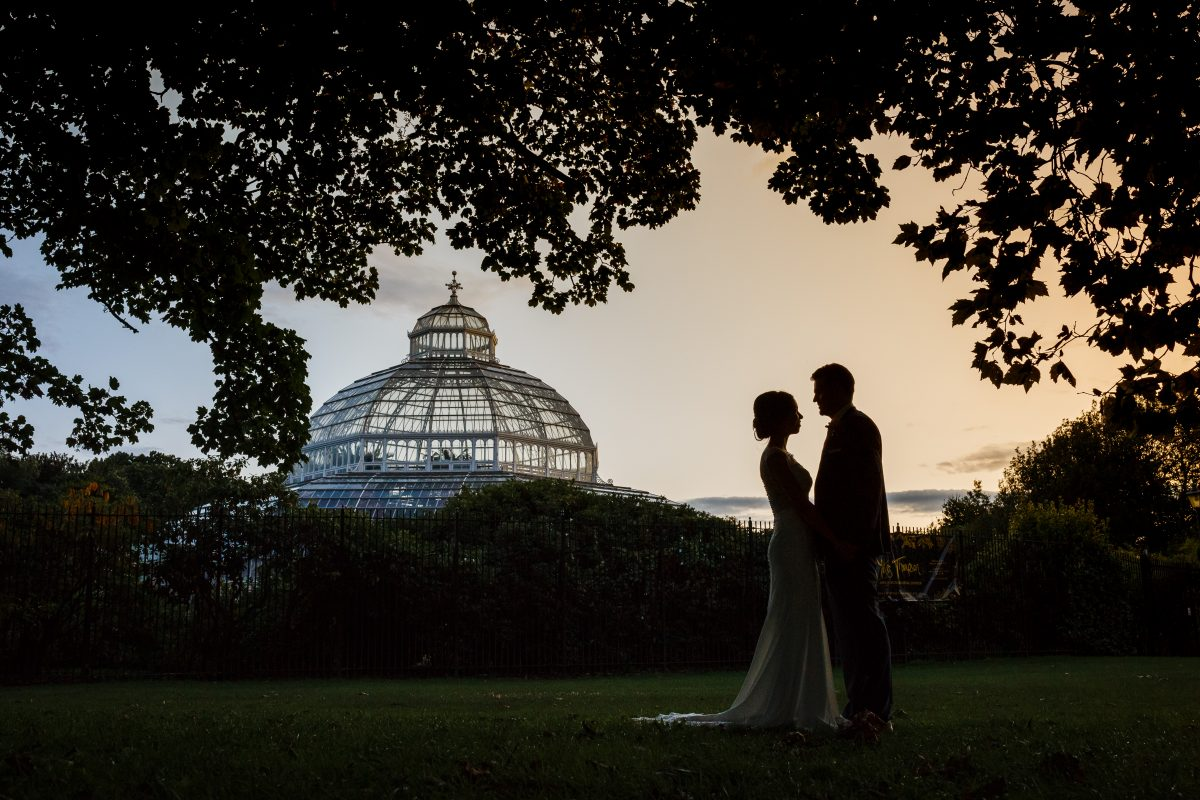 Sunset at Sefton Palm House with Bride and Groom