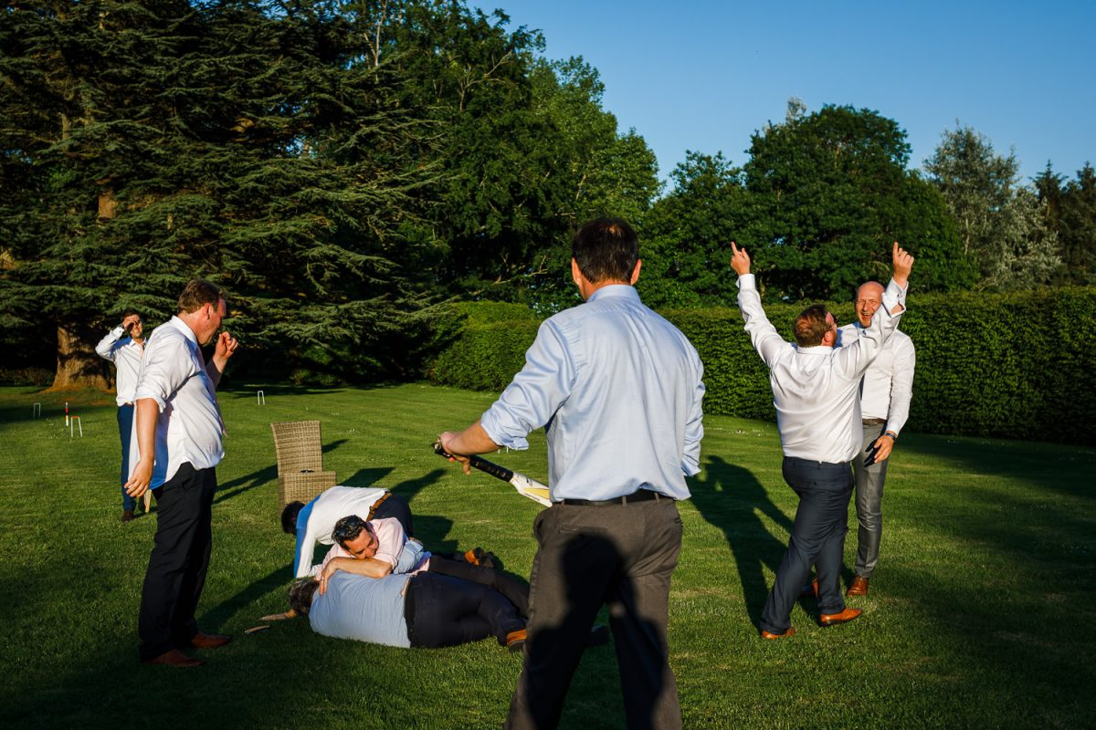 An outdoor wedding with garden games